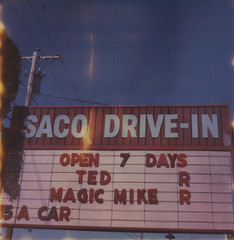 SACO DRIVE-IN (abdukted1456) Tags: summer me sign polaroid sx70 theater maine drivein integral movies expired ratedr saco tz timezero expiredfilm landcamera instantfilm open7days