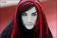 (astramaore) Tags: red male beauty fashion dark hair beard toy dangerous glamour doll longhair hunter blackhair royalty greyeyes brunet acheron fashionroyalty