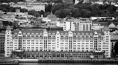 Oslo (CecilieSonstebyPhotography) Tags: city trees windows blackandwhite bw building window oslo architecture canon ef100400mmf4556lisusm royalpalaceofoslo