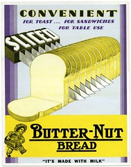 Sliced Butter-Nut Bread (Alan Mays) Tags: old blue signs boys lines yellow vintage ads paper advertising children typography milk purple antique stripes toast hats ephemera cardboard posters cutting type mauve sliced advertisements parallel fonts sandwiches printed breads blades convenience slices butternut loaves bakers typefaces convenient slicing storesigns slicedbread butternutbread chefshats