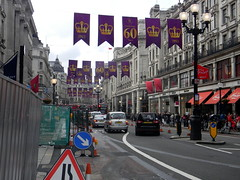 Celebrating queens 60 years coronation banners purple gold Regent Street London England 15th June 2013 republic 15-06-2013 17-40-18 (dennoir) Tags: