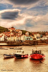 Boats In The Harbour (Light+Shade [spcandler.zenfolio.com]) Tags: uk sea england clouds geotagged boats harbour yorkshire fishingboats hdr highdynamicrange northyorkshire lightshade staithes tonemapped tonemapping hdrphotography hdrphotographer stephencandler stephencandlerphotography spcandler httpspcandlerzenfoliocom