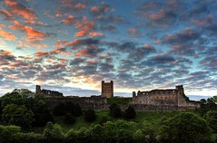 Colourful Richmond (matrobinsonphoto) Tags: pink blue trees sunset sky sun green castle clouds river evening yorkshire hill north richmond norman keep walls swaledale swale richmondshire