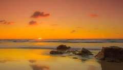 Mellow (Esox2402) Tags: sunset sea sky seascape water clouds canon reflections sand scenery rocks exposure cornwall day photos clear 550d vision:sunset=099