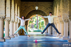 Jump (Riven Imagery) Tags: people 3 silly canon happy engagement jump jumping couple long mark air iii pillar together walkway stanford friendly 5d column 135 lovely mk timing ef135l 5d3