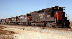 SP SD45 & U33C north of Lancaster, CA (EdwinWalton) Tags: lancasterca southernpacific emd sd45 u33c 9007 8592 8471