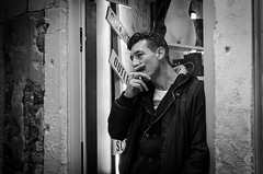Shopkeeper (agmwhite) Tags: street venice portrait bw man cool break candid streetphotography stranger backstreet smoking smoker relaxed shopkeeper smokingman