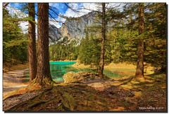 View of the Green Lake (Fraggle Red) Tags: trees mountain lake tree clouds austria sterreich hdr steiermark styria mountainrange hochschwab 7exp grnersee canonef1635mmf28liiusm tragss dphdr trags hochschwabgruppe