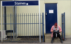 `1351 (roll the dice) Tags: uk blue red portrait england people urban sexy london art classic window girl fashion mobile train fence shopping fun funny pretty sad phone natural boots candid platform entrance streetphotography rail stranger dirty surrey communication busy unknown wait passenger exit mad ashford m25 egham unaware staines alig londonist spelthorne