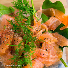 Smoked salmon and leaves lunch (garydlum) Tags: dill au australia canberra phillip smokedsalmon chard australiancapitalterritory spinachleaves