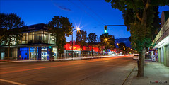 Fraser Nights (Clayton Perry Photoworks) Tags: street longexposure signs canada night vancouver buildings lights spring stream bc explorebc explorecanada