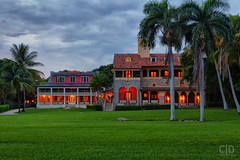 Richmond Cottage and Stone House (Fraggle Red) Tags: florida miamidadeco palmettobay miami deeringestateatcutler deeringestate estate richmondcottage stonehouse royalpalms palmtrees clouds hdr 7exp dphdr adobelightroomcc adobephotoshopcc20155 canonef24105mmf4lisusm