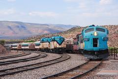 Inbound at Verde Canyon (ajketh) Tags: fp7 emd passenger freight diesel station verde canyon railroad rail arizona central azcr vcrr gp9 clarkdale az
