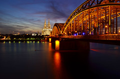 Cologne cathedral and the Hohenzollern-bridge (Morkovica) Tags: cologne dusk sunset d5100 nikon longexposition kln germany