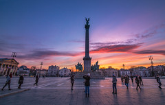 Sunset in Heroes Square (Vagelis Pikoulas) Tags: pest budapest hungary winter january 2016 view city cityscape capital canon 6d tokina 1628mm sky people square