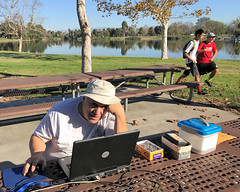 004 Rich Works To Set Up The E-Punch Station (saschmitz_earthlink_net) Tags: 2016 california longbeach eldorado orienteering laoc losangelesorienteeringclub losangeles losangelescounty eldoradoeastregionalpark park parks epunch richhoesly