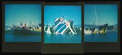 Dazzle (fedupwithdigital) Tags: polaroid impossibleproject sx70 balckframe dazzleship leith edinburgh roidweek