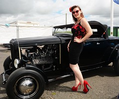 Holly_7263 (Fast an' Bulbous) Tags: classic american hotrod custom car automobile vehicle outdoor people girl woman hot sexy chick babe hotty skirt dress seamed stockings high heels silk stilettos shoes red long brunette hair