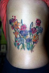 watercolor flower tattoo (Deanna Wardin @ Tattoo Boogaloo) Tags: tattoo tattooboogaloo deannawardin graphicward sanfrancisco sf tattooartist art ink watercolor flowers ribs
