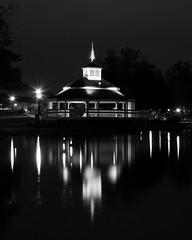 Coe Lake Gazebo (ptpkrause) Tags: berea coellake fall ohio water bw night reflections lake gazebo