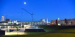 Twilight Skyline in Durham (Hal Goodtree) Tags: americantobacco night durham nc twilight busstation crane