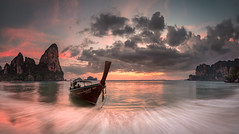 Railay Bay Sunset (Jerry Fryer) Tags: westrailaybay krabiprovince thailand beach shore coast sunset twilight waves longtailboat 5dsr leefilters ef1635mmf4l