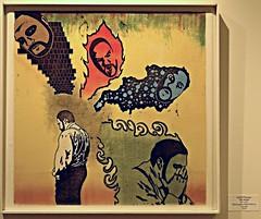 """The Voices"", Mono-type & Relief Print on Canvas by Gabriel Flanagan (ali eminov) Tags: wayne nebraska colleges waynestatecollege galleries nordstrandvisualartgallery exhibits arts visualarts artists painters gabrielflanagan paintings thevoices"
