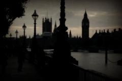 A walk along the South Bank. (Steve.T.) Tags: london southbank riverthames thethames bigben westminster thepalaceofwestminster lowlight dusk panasonic dmctz40 streetlights clocktower parliament city cityscape skyline silhouette portcullishouse