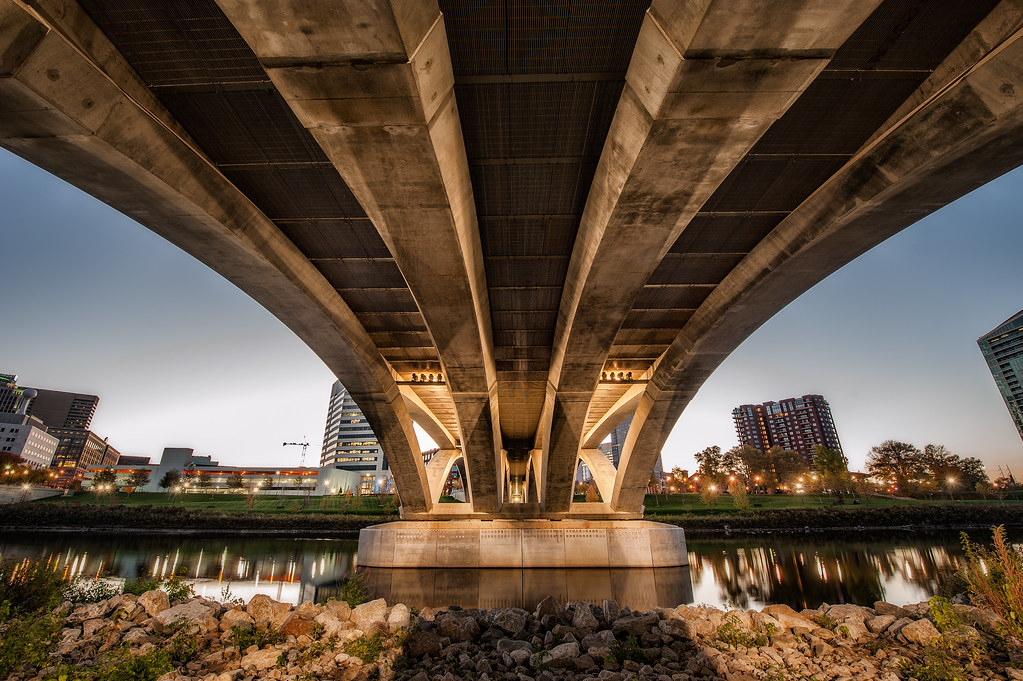 From underneath the Rich Street Bridge in Columbus, Ohio.