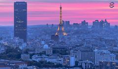 Twin Towers sunset (apparencephotos) Tags: paris sunset montparnasse eiffeltower eiffel toureiffel ladfense