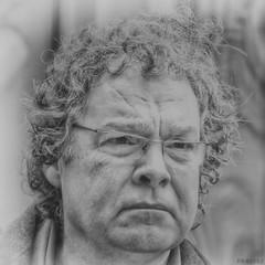 """Perplexed"" (Ralph Friedman) Tags: man person portrait streetportrait face street streetphotography blackandwhite blackwhite mono monochrome austria sterreich vienna wien canon powershot sx60hs sx60 bridgecamera photoshop 2015"