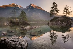 Hintersee at sunset (slava_kushvalieva) Tags: bavaria berchtesgadener königssee alps backpacker germany hike hiking hintersee holidays koenigsee lake landscape landscapephotography montains nature photography pond travel traveler traveller trip