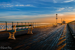 Penarth Pier (parry101) Tags: penarth pier sunrise sky skies cloud clouds south wales beach cardiff reflection water landscape coast sea morning outdoor seaside shore boardwalk waterfront skyline bench lamppost