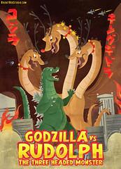 Godzilla versus Ghidorah, The Three Headed Monster! (rocketrexstudio) Tags: godzilla ghidorah ghidrah rudolph attack battle christmas fire holiday greeting card deer jinglebells gojira zilla japanese