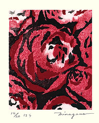 Rose (Japanese Flower and Bird Art) Tags: flower rose rosa rosaceae minagawa modern woodblock print japan japanese art readercollection