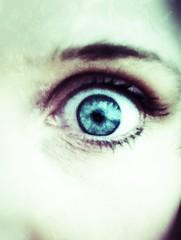Wide eyed!! (Sugarplum.82) Tags: blue iris light portrait people white selfportrait black blur colour green eye art beautiful face dark eyes pretty emotion objects eyebrow eyelash iphone iphone4s snapseed 2012inphotos