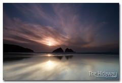 Holywell reflections - Explore #486  05/04/12 (Simon Bone Photography) Tags: sea sky cloud sun reflection silhouette cornwall holywellbay cornishcoast canon1740mmlf4 cornishsunsets wwwthehidawaycouk canoneos7d hitechnd09reversegrad