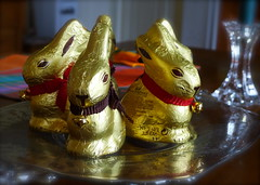 Easter bunnies (halifaxlight) Tags: canada bunnies glass easter table gold novascotia chocolate decoration tray candlestick centrepiece indianpoint