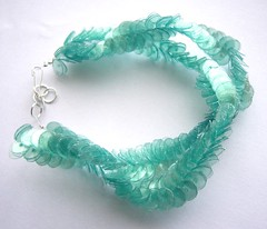 Mint green water bottle bracelet (d'ekoprojects) Tags: jewelry bracelet ecofriendly handmadejewelry recycledjewelry handmadebracelet ecofriendlyjewelry upcycledjewelry plasticbottlejewelry