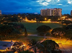 Waikiki Night View (fdphotolover) Tags: ocean park night canon dawn hawaii view waikiki oahu colorfull 7d l 1740 1740l