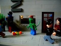 The encounter (Big Green Sea Monster) Tags: street fight lego lizard billy curt marvel stree encounter connors the