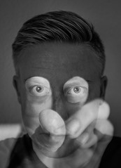 Eyes on fingertips (Jonas Rask) Tags: portrait blackandwhite selfportrait exposure fuji fujifilm dual dualexposure x100s fujifilmx100s