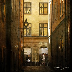 Walk on by (Milla's Place) Tags: street city windows people reflections walking town alley sweden stockholm textures alleyway lanterns textured gamlsstan