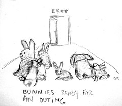 Bunny Outing (bagsgroove) Tags: bunnies pencil sketch