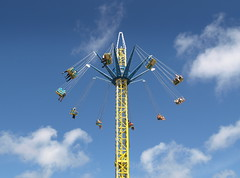 Tall Southport Ride (Tony Worrall Foto) Tags: park uk family vacation england sky people sun fling yellow metal skyline kids turn children fun seaside chair holidays ride northwest candid north fast sunny bluesky fair visit tourist swing resort event tall sunlit excitement funfair excite southport thrill starflyer southportpleasureland 2013tonyworrall