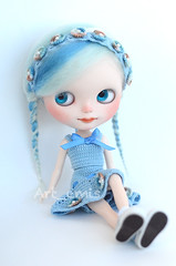 Alkira (Art_emis) Tags: new blue light white art make up shirt work doll hand handmade drawing ooak painted crochet skirt mohair blythe mold custom takara headband eyelids fbl reshaped