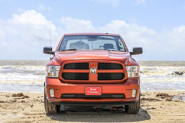 ocean orange galveston beach truck out doors texas cab country pickup automotive single copper dodge hemi ram 1500 2012 horsepower regular 2013