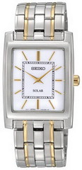 Seiko White Dial Two Tone Solar Quartz Mens Watch SUP893 (luxuryjug.com) Tags: seiko luxury newitems seikomenswatch bestpriceseiko lowestpricesseiko sup893 seikosup893