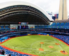 Baseball Diamond (TownieBrit-JiverGirl) Tags: roof people toronto architecture open baseball crowd structure ballgame skydome retractable downtowntoronto torontobluejays baseballdiamond rogerscentre