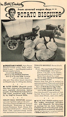 Vintage Ad #2,275: Potato Biscuits from Covered Wagon Days (jbcurio) Tags: food biscuits recipes bettycrocker vintagead
